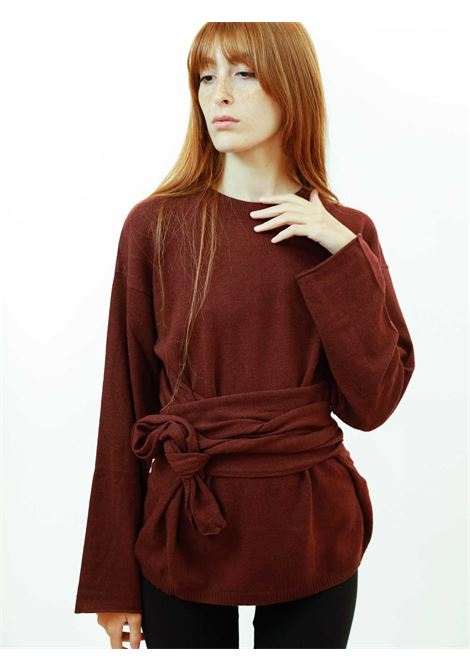 Abbigliamento Donna Maglia Re-volution in Lana Vinaccia Girocollo con Cintura in Vita a Tono Maliparmi | Maglieria | JQ48987051833010