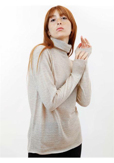 Abbigliamento Donna Maglione Collo Alto Soft Misto Cachemire in Avorio con Lurex Maliparmi   Maglieria   JQ49017052310003