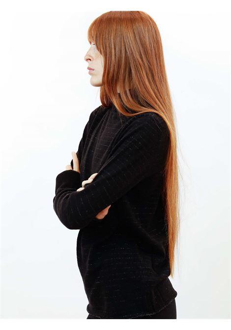 Abbigliamento Donna Maglione Collo Alto Soft Misto Cachemire in Nero con Lurex Maliparmi | Maglieria | JQ49017052320000