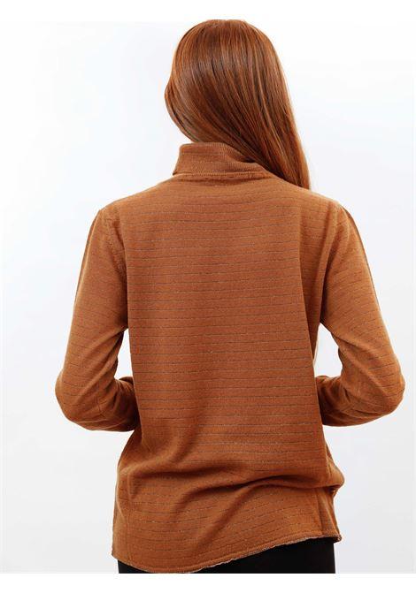 Women's Clothing Turtleneck Soft Sweater in Caramel Cashmere Blend with Lurex Maliparmi   Knitwear   JQ49017052341008