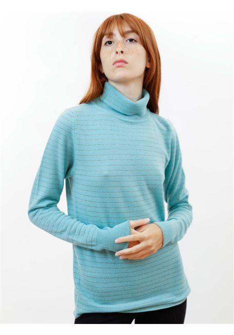 Women's Clothing Turtleneck Soft Sweater in Aqua Green Cashmere Blend with Lurex Maliparmi   Knitwear   JQ49017052360012