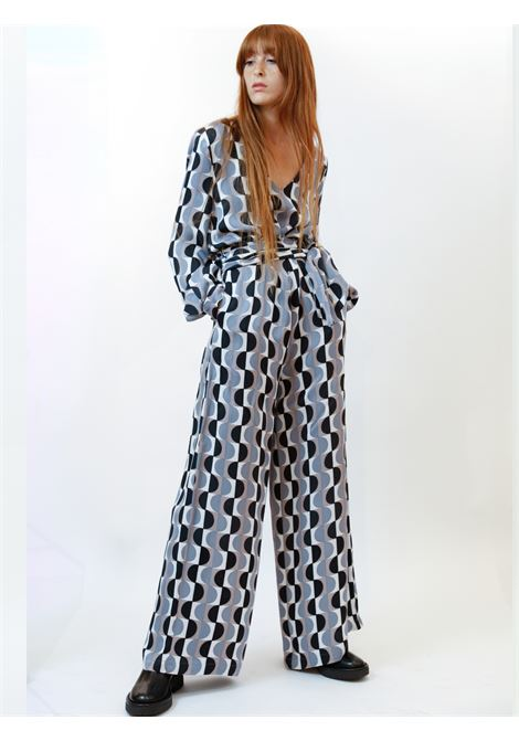 Women's Clothing Roundground Jumpsuit in Dark Brown and Natural with Waist Belt and Wide Legs Maliparmi | Dresses | JU002150568B1247