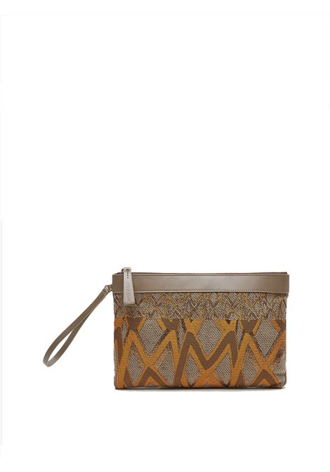Women's Accessories Handbag Punch Iconic in Taupe Jacquard Fabric with Wrist Ring  Maliparmi | Bags and backpacks | OP008601406A3168