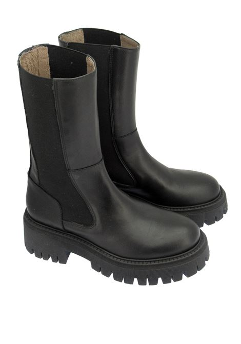 Women's Shoes Chelsea Ankle Boots in Black Leather and Rubber Tank Sole Manufacture D'Essai | Ankle Boots | MDE 33001