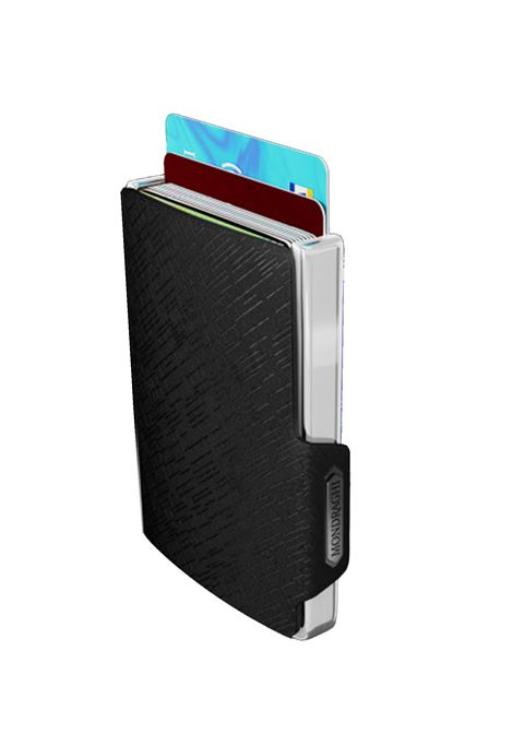 Men's Accessories Wallet Compact and Pocket Size in Ultra Lightweight Shell and Black Leather with Diagonal Engravings Mondraghi | Wallets | ELEGANCE70100