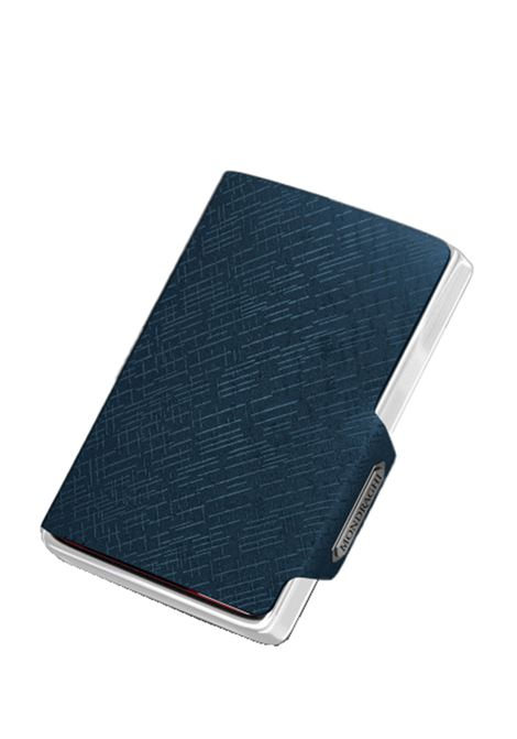 Men's Accessories Wallet Compact and Pocket Size in Ultra Lightweight Shell and Blue Leather with Diagonal Engravings Mondraghi | Wallets | ELEGANCE71100