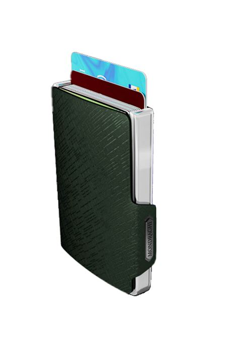 Men's Accessories Wallet Compact and Pocket Size in Ultra Lightweight Shell and Green Leather with Diagonal Engravings Mondraghi | Wallets | ELEGANCE71300