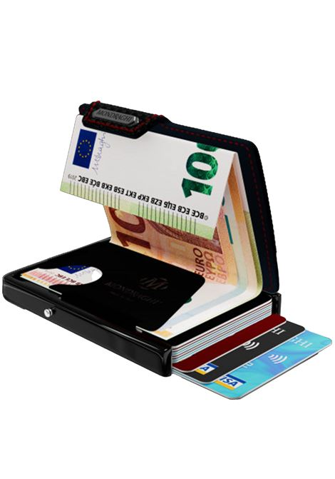 Men's Accessories Wallet Compact and Pocket Size in Ultra Lightweight Shell and Black Leather with Carbon Finish and Red Seam Mondraghi | Wallets | RACING80200