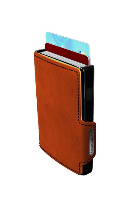 Men's Accessories Wallet Compact and Pocket Size in Ultra Lightweight Shell and Orange Leather and Black Seam Mondraghi | Wallets | RACING80400