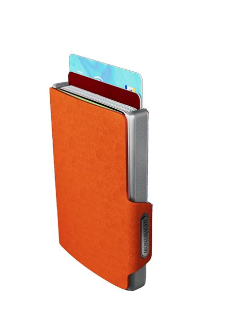 Men's Accessories Wallet Compact and Pocket Size in Ultra Lightweight Shell and Orange Saffiano Leather Mondraghi | Wallets | SAFFIANO30300