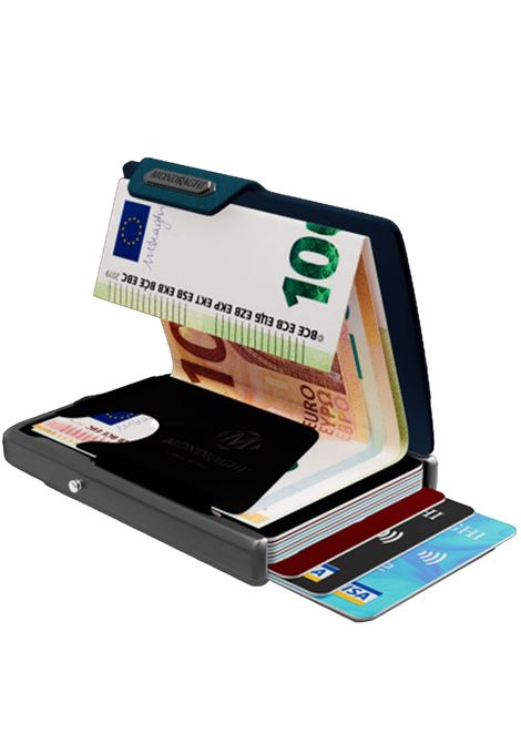 Men's Accessories Wallet Compact and Pocket Size in Ultra Lightweight Shell and Blue Saffiano Leather Mondraghi | Wallets | SAFFIANO31100