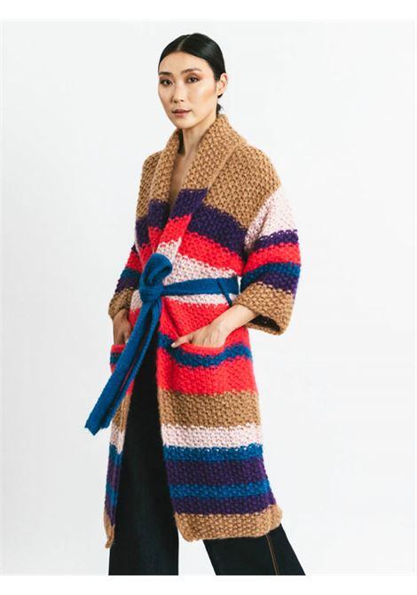 Women's Clothing Cardigan Over Coat in Camel Stripe Wool with Belt Pink Memories | Knitwear | 11114101