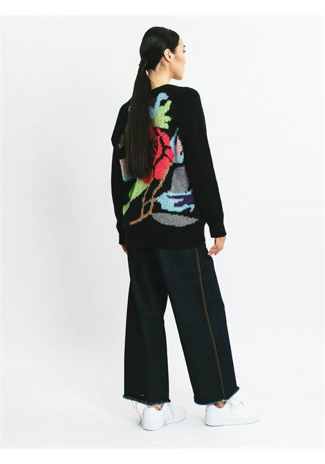 Women's Clothing Cardigan in Black Mohair Wool with Embroidery and Deep Neckline Pink Memories | Knitwear | 1111602
