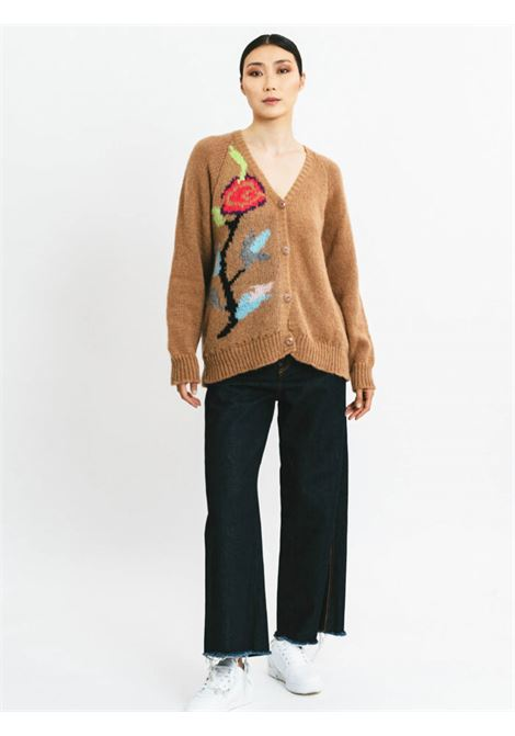 Women's Clothing Cardigan in Camel Mohair Wool with Embroidery and Deep Neckline Pink Memories | Knitwear | 1111624