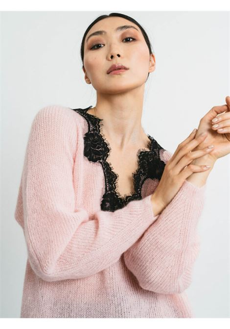 Women's Cloting Sweater in Pink Mohair with Lace and V-neck Pink Memories | Knitwear | 1113429