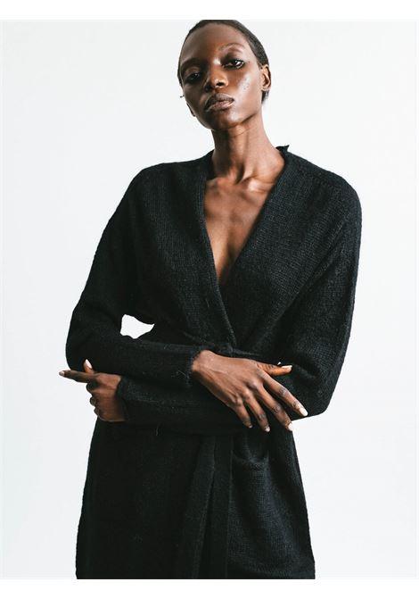 Abbigliamento Donna Cardigan Lungo in Mohair Nero Senza Bottoni con Cintura a Tono Pink Memories | Maglieria | 1113902
