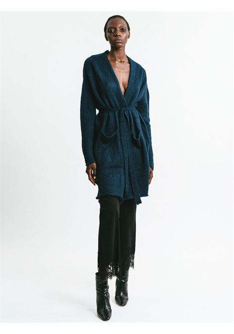 Women's Cloting Long Cardigan in Blue Mohair Buttonless with Matching Belt Pink Memories | Knitwear | 1113903