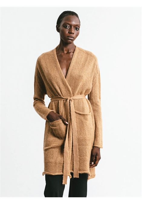 Women's Cloting Long Cardigan in Camel Mohair Buttonless with Matching Belt Pink Memories | Knitwear | 1113924