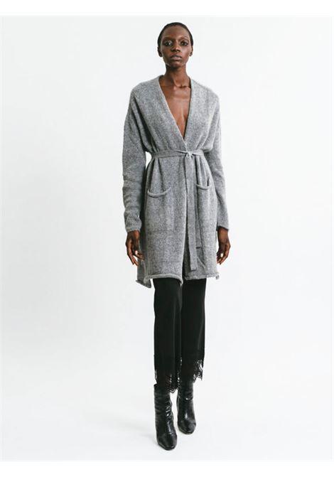 Abbigliamento Donna Cardigan Lungo in Mohair Grigio Senza Bottoni con Cintura a Tono Pink Memories | Maglieria | 1113925