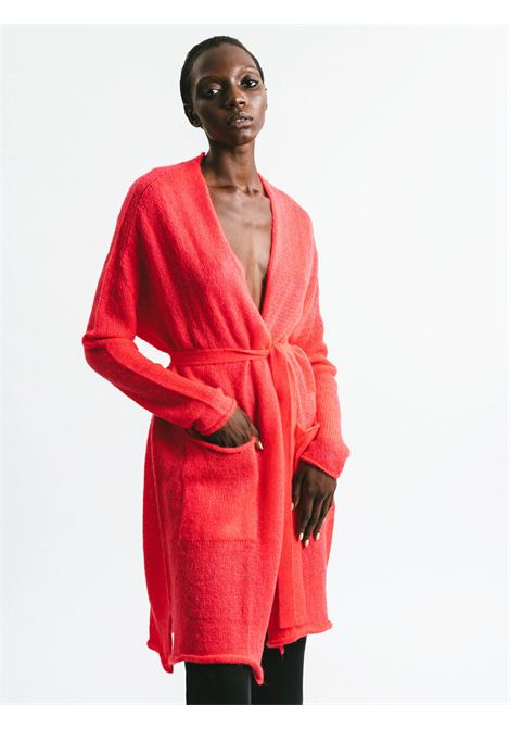 Women's Cloting Long Cardigan in Geranium Mohair Buttonless with Matching Belt Pink Memories | Knitwear | 1113930