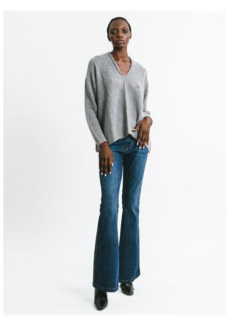 Women's Clothing V-neck Sweater in Grey Mohair Long Sleeve Pink Memories | Knitwear | 1114025