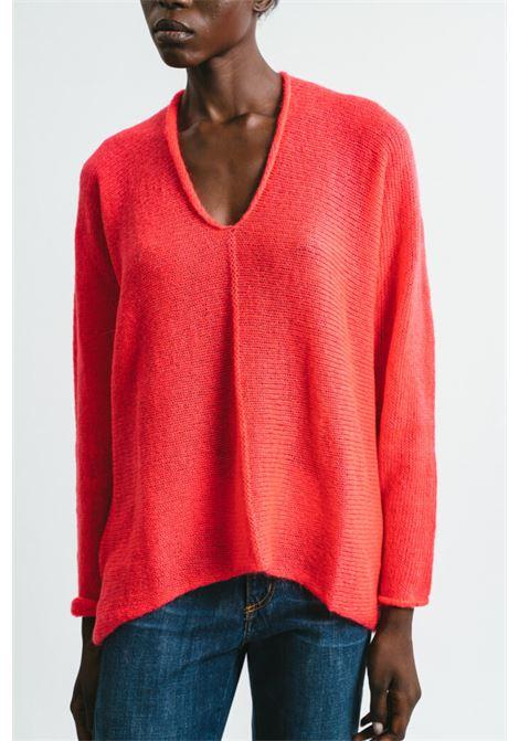 Women's Clothing V-neck Sweater in Geranium Mohair Long Sleeve  Pink Memories | Knitwear | 1114030