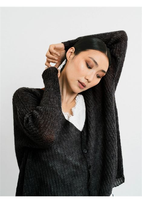 Women's Clothing Cardigan in Black Mohair with Matching Buttons and V-neck Pink Memories | Knitwear | 1114502