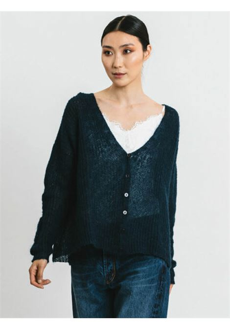 Women's Clothing Cardigan in Blue Mohair with Matching Buttons and V-neck Pink Memories | Knitwear | 1114503