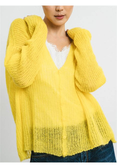 Women's Clothing Cardigan in Yellow Mohair with Matching Buttons and V-neck Pink Memories | Knitwear | 1114513