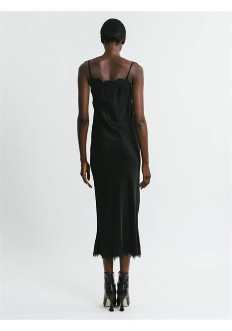 Women's Clothing Long Slip Dress in Black Chenille with Lace Neckline and Shoulder Straps Pink Memories | Dresses | 1115502