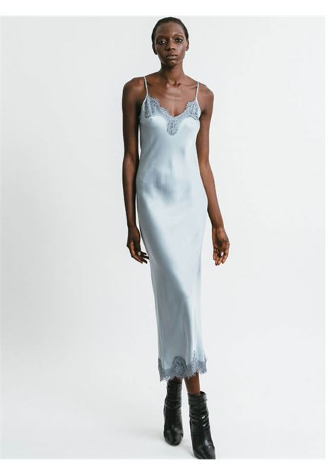 Women's Clothing Long Slip Dress in Silver Chenille with Lace Neckline and Shoulder Straps Pink Memories | Dresses | 1115525