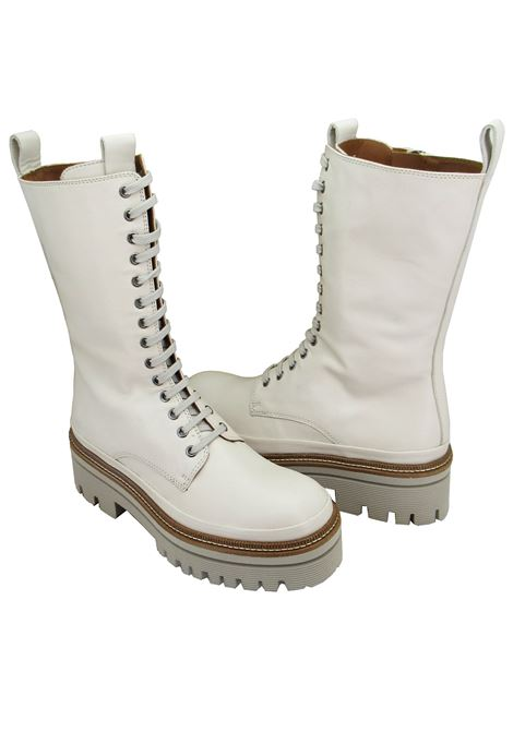 Women's Shoes Amphibian Lace-up Boots in Off White Leather with Side Zip and Rubber Tank Sole Pons Quintana | Ankle Boots | 9424100