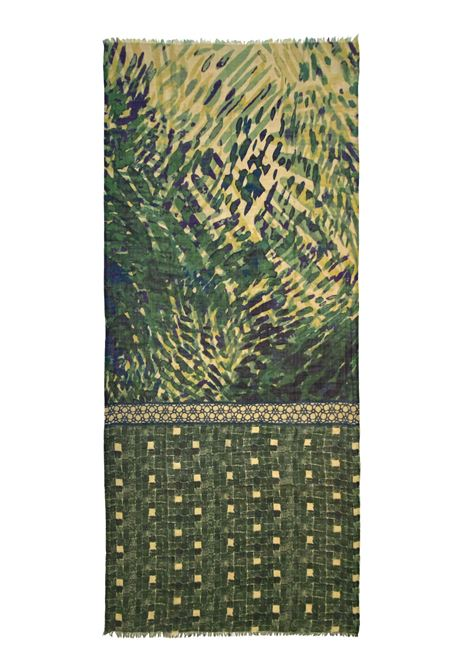 Accessori Donna Sciarpa in Lana Ricamata Verde Multicolore a Fantasia Pyaar | Sciarpe e foulard | FRIDA0023