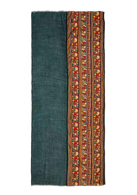 Accessori Donna Sciarpa in Misto Seta Ricamata Verde Multicolore a Fantasia Pyaar | Sciarpe e foulard | GIULIETTA0010