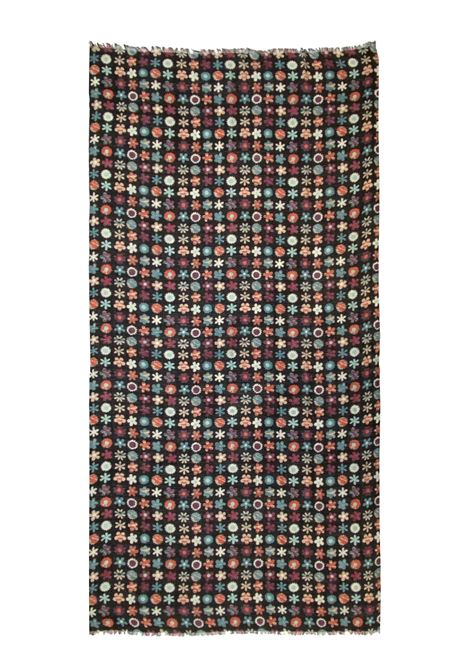 Accessori Donna Sciarpa in Lana Ricamata Nera Multicolore a Fantasia Pyaar | Sciarpe e foulard | JACKIE0014