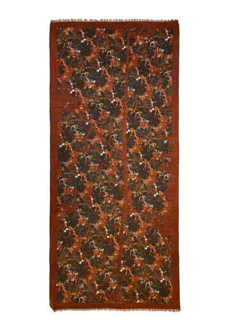 Accessori Donna Sciarpa in Lana Ricamata Marrone Multicolore a Fantasia Pyaar | Sciarpe e foulard | JANE00385