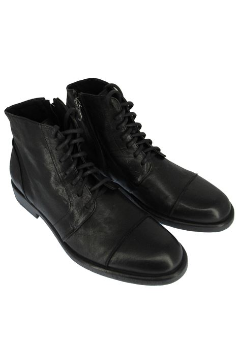 Men's Shoes Lace-up Ankle Boots in Vintage Black Leather with Leather Rubber Sole  Rogal's | Ankle Boots | GOR 21001