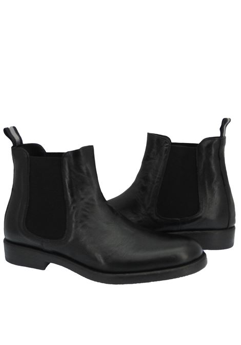 Men's Shoes Beatles Ankle Boots in Black Leather with Rubber Sole Rogal's | Ankle Boots | GOR 9001
