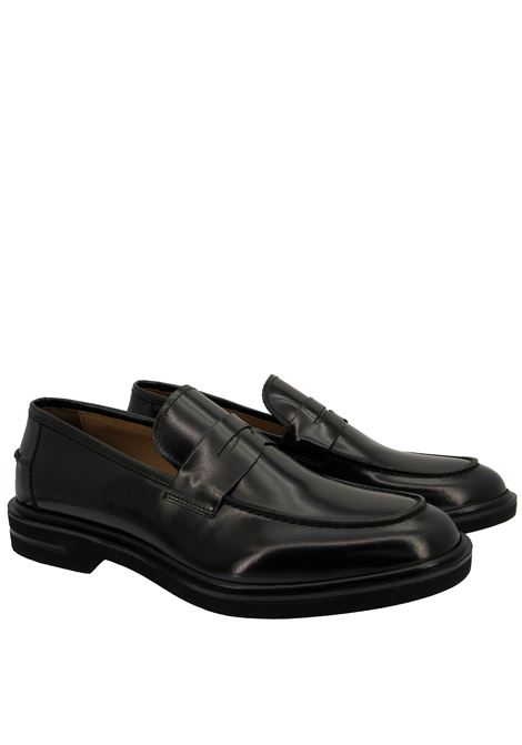 Men's Shoes Loafers in Semi-matt Black Leather with Extralight Rubber Sole Rogal's | Mocassins | HOL 01001
