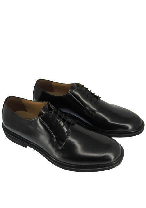 Men's Shoes Lace-up in Semi-matt Black Leather with Extralight Rubber Sole Rogal's | Lace up shoes | HOL 6001