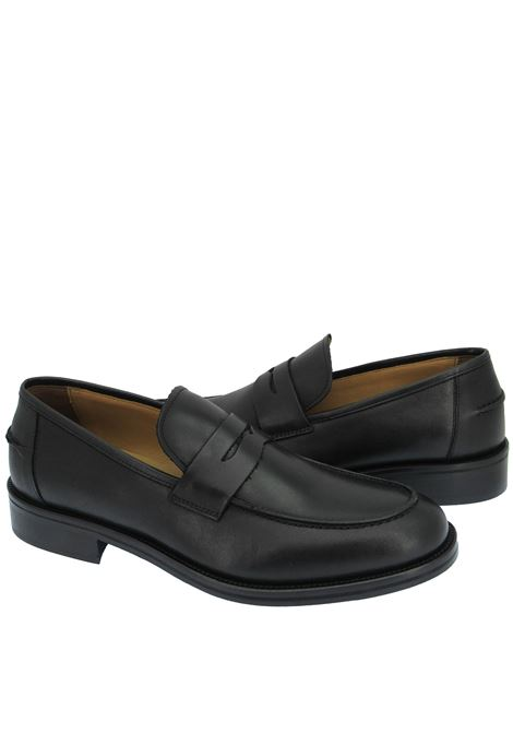 Men's Shoes Loafers in Black Leather with Wrap and Leather Sole Rogal's | Mocassins | KUOIO 1001