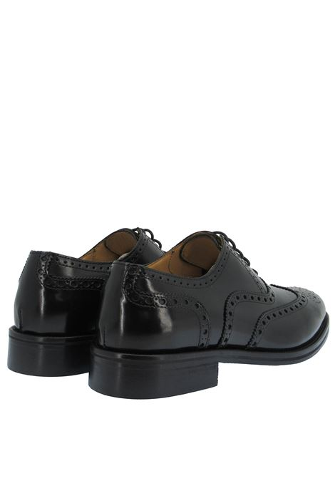 Men's Shoes Lace-up in Glossy Black Leather with Stitching and Leather Sole Rogal's | Lace up shoes | KUOIO 12001