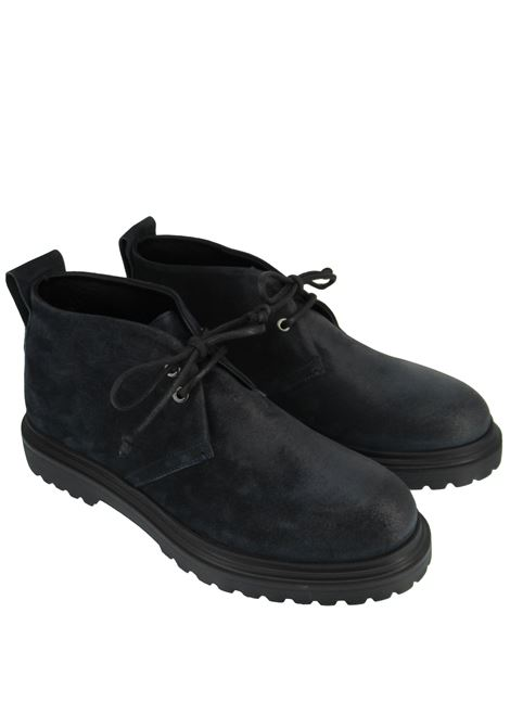 Men's Shoes Lace-up Ankle Boots in Blue Suede with Rubber Tank Sole Rogal's | Ankle Boots | MAR 14002