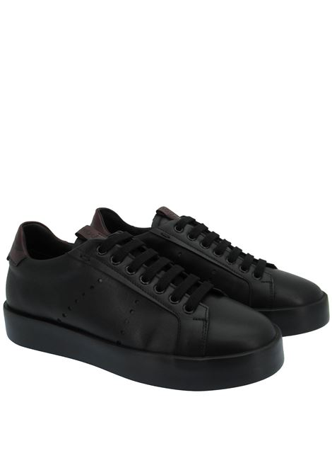 Men's Shoes Sneakers in Black Leather with Matching Rubber Sole Rogal's | Sneakers | VEL1001