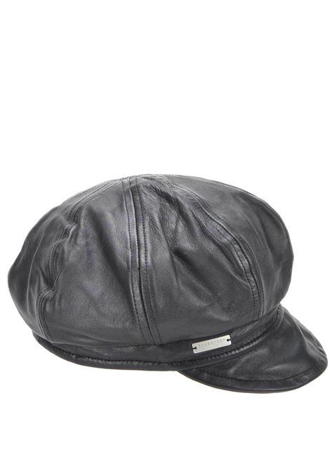 Accessori Unisex Cappello Berretto a Palloncino in Pelle Nera con Visiera Corta e Curva Seeberger Est 1890 | Cappelli | 0183310010