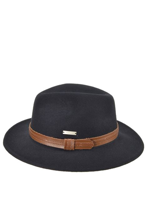 Unisex's Accessories Hat Traveller Fedora in Black Wool and Brown Eco-leather   Seeberger Est 1890 |  | 0704250010