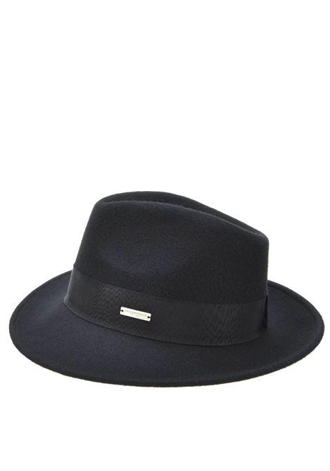 Unisex's Accessories Hat Bogart in Black Wool and Gros Grain   Seeberger Est 1890 |  | 0704270010