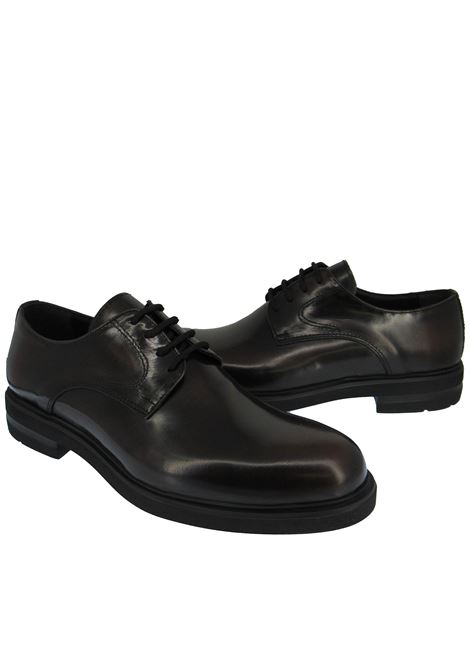 Men's Shoes Lace-up in Black Leather Round Toe and Ultra Light Rubber Sole Spatarella | Lace up shoes | 020001