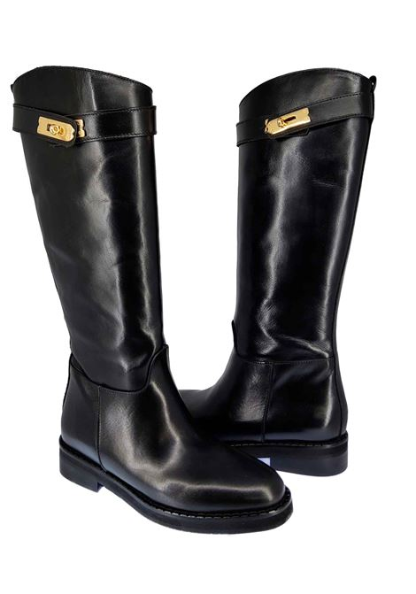 Women's Riding Boots in Glossy Black Leather with Gold Accessory and Low Heel Spatarella | Boots | CA123001