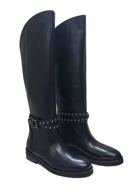 Women's Boots with Black Leather Gaiter with Strap and Studs and Low Heel Spatarella | Boots | CA124001